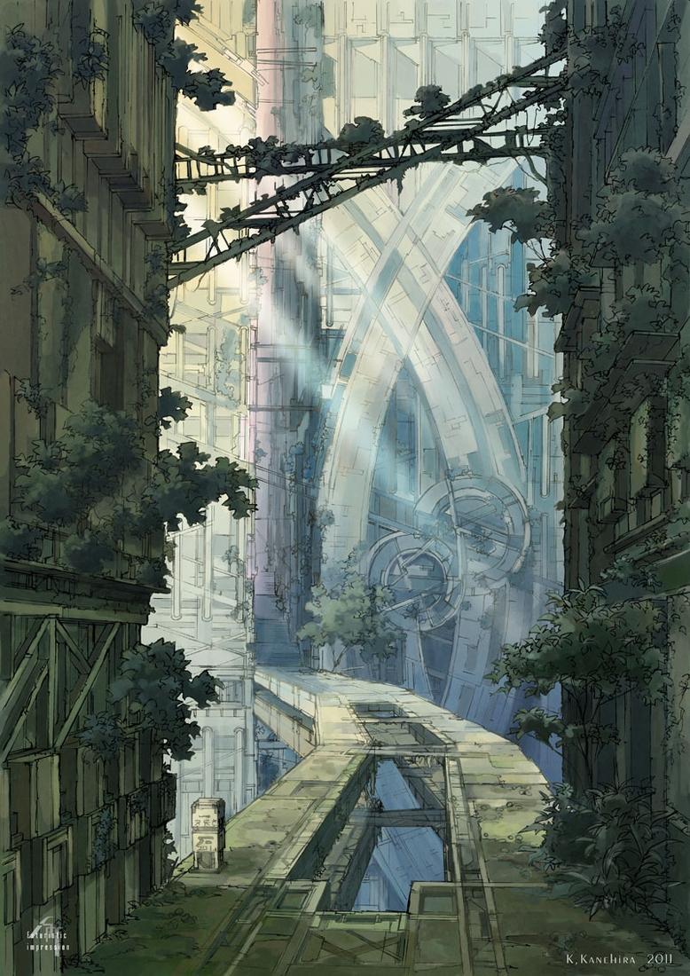 09-Ruins-bridge-K-Kanehira-Futuristic-Impressions-of-Architecture-with-Urban-Decay-www-designstack-co