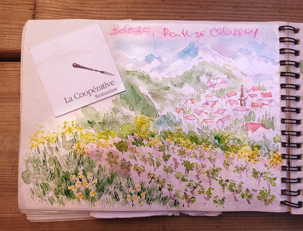 Belesta, France, Watercolor Sketchbook
