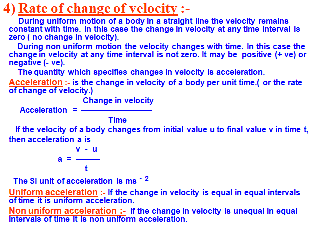 acceleration,uniform acceleration,non uniform acceleration,formula and unit,