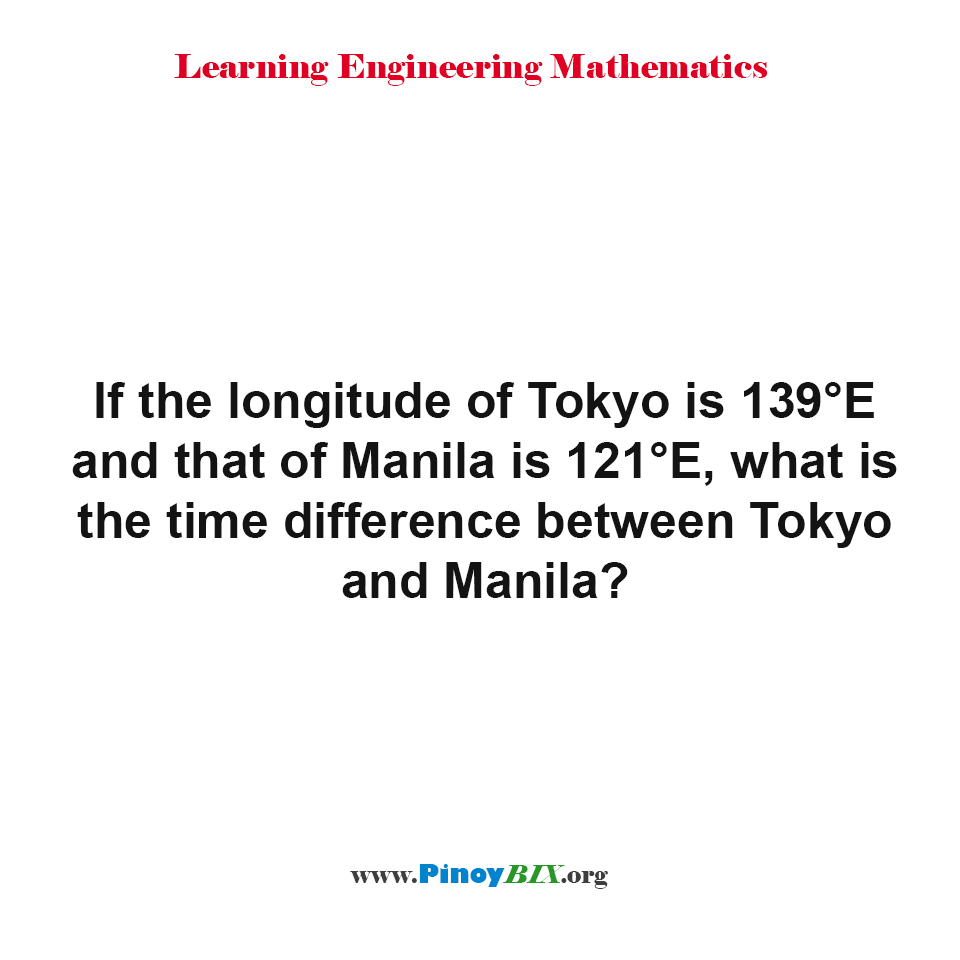What is the time difference between Tokyo and Manila?