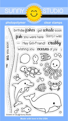 Sunny Studio Stamps: Oceans of Joy Stamps (with Whale, Dolphin, Octopus, Sea Turtle, Crab & Fish)