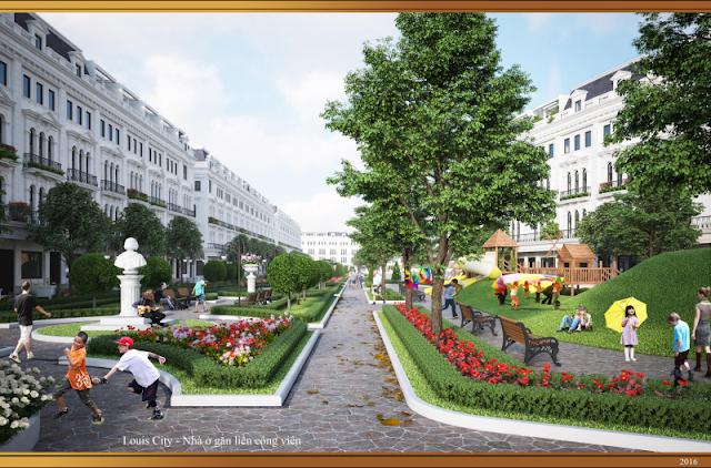 Không gian xanh nhà phố thương mại Louis City