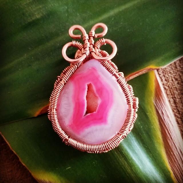 Copper Creations Semi Precious Druzy Stone Butterfly Pendant
