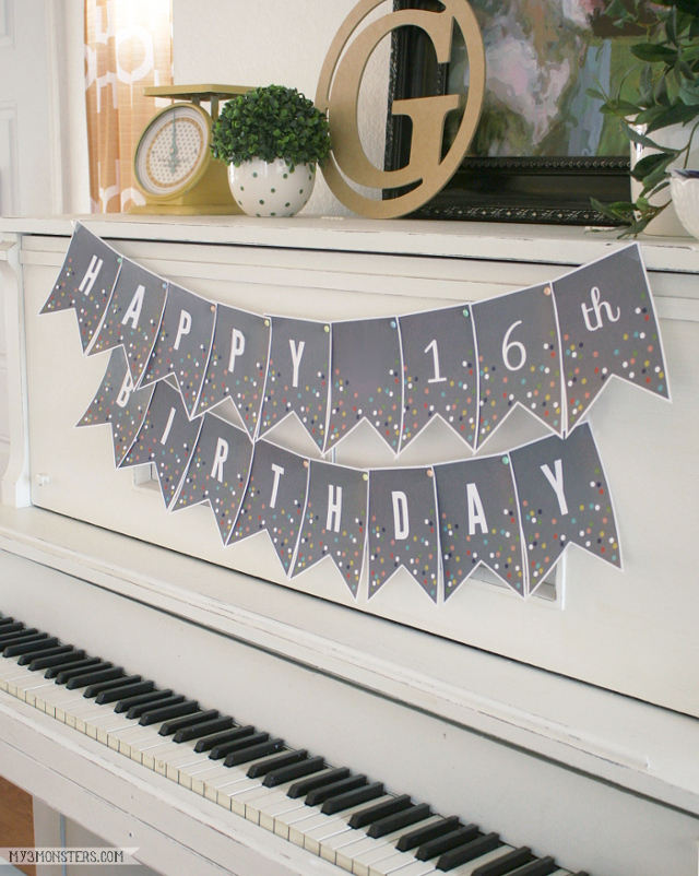 DIY your own party banner with these darling confetti banner letters from my3monsters.com