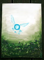 'Lost Woods', 2016; the picture show a green froest background, purple flowers and above a glittering little fairy in bright turqouise and white coloured- Navi from Zelda, video game
