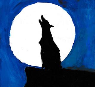 детский рисунок грустный волк, 100 дней - 100 рисунков