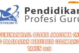 Pengumuman Hasil Seleksi Akademik Online PPG Prajabatan Bersubsidi Gelombang III Tahun 2018