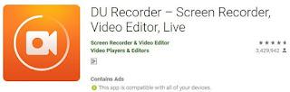 DU Recorder untuk screenshoot tampilan mandiri mobile banking