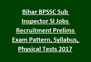 Bihar BPSSC Sub Inspector SI Jobs Recruitment Prelims Exam Pattern, Syllabus, Physical Tests 2017
