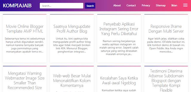 Cara Membuat Post Grid Di Home Page Seperti Kompiajaib Pada Blog Non AMP