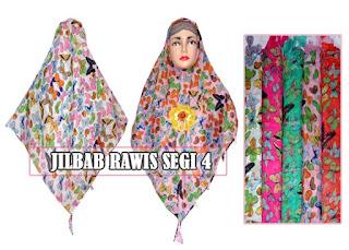 Jual jilbab rawis segi empat motif terbaru harga grosir termurah