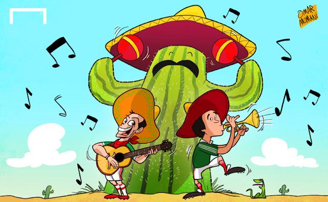 Chicharito and Hugo Sánchez cartoon