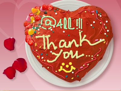 A hand made virtual cake thanking blog followers