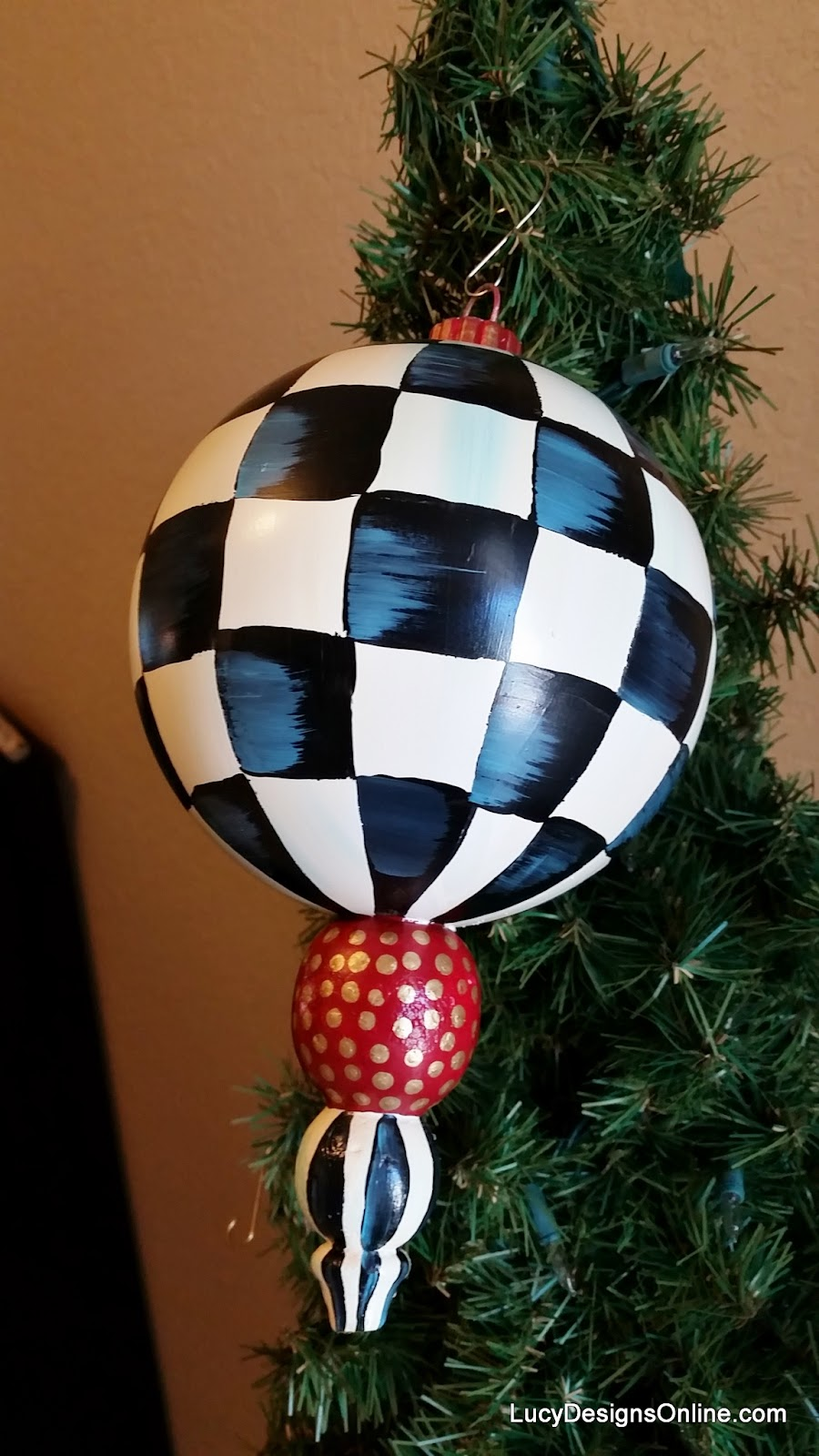 hand painted black and white checked christmas ornament large