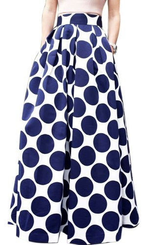 Blue and white polka dot maxi dress