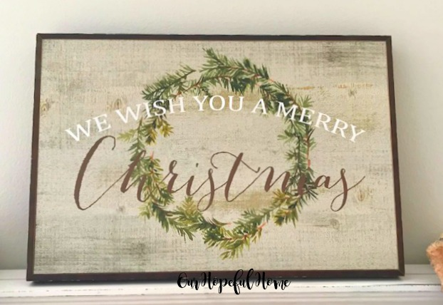 we widh you a merry christmas wooden painted sign evergreen wreath