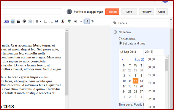 How to Schedule a Blog Post in Blogger in Telugu | Blogger VJ