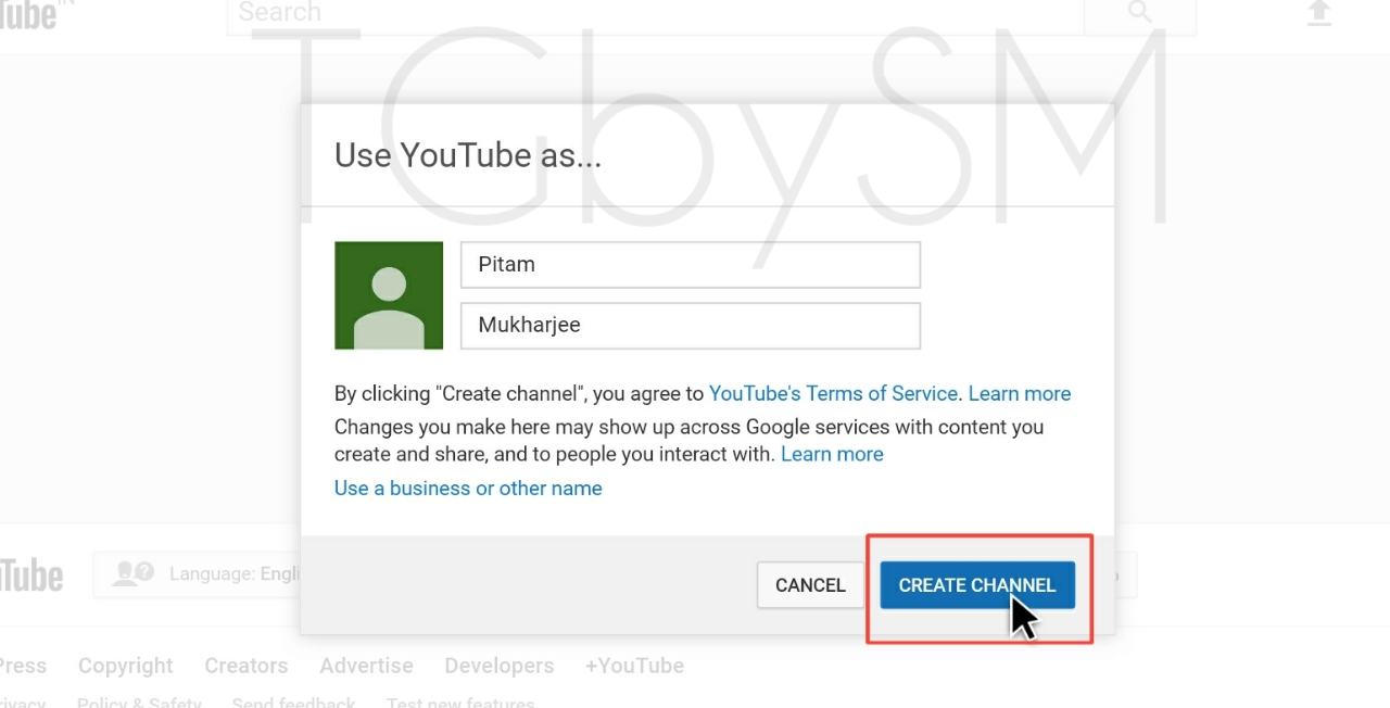 enter channel name and create channel
