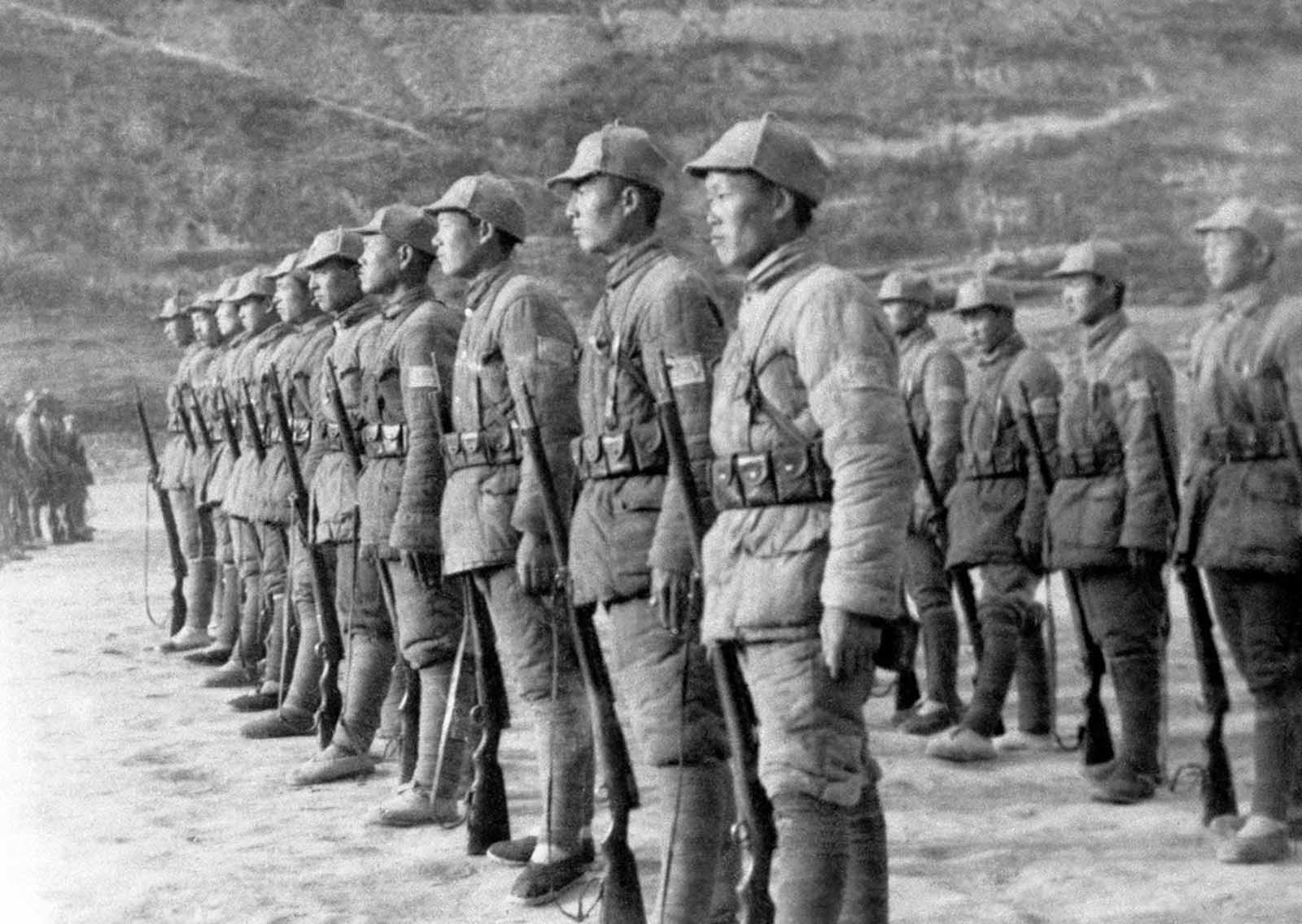 Soldiers of the Chinese communist Eighth Route Army on the drill field at Yanan, capital of a huge area in North China which is governed by the Chinese Communist Party, seen on March 26, 1946. These soldiers are members of the