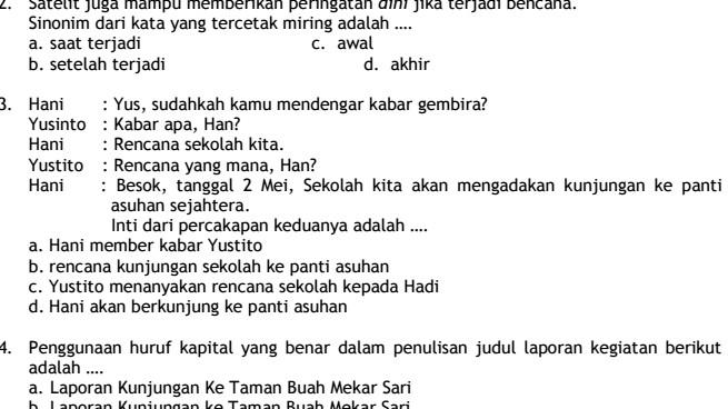 Contoh Soal UTS SD Kelas 6 Semester 1 Bahasa Indonesia