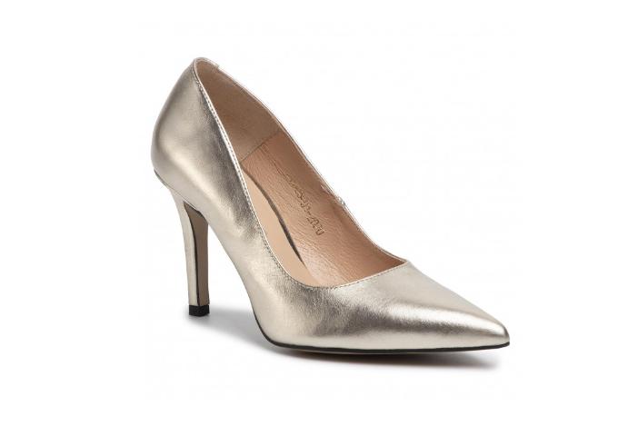 Pantofi cu toc inalt de zi eleganti argintii din piele naturala R.POLAŃSKI