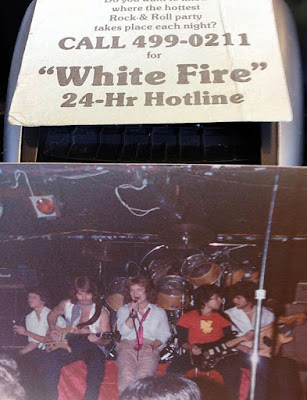 "White Fire on stage at Rumbottom's 1978 performing Van Halen's ""Ice Cream Man"""