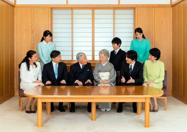 Emperor Akihito, Empress Michiko, Crown Prince Naruhito, Crown Princess Masako, Princess Aiko,  Prince Akishino,  Princess Kiko, Princess Mako and Prince Hisahito