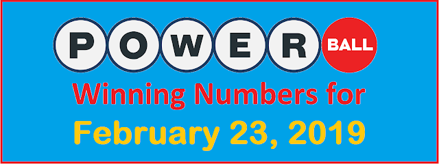 PowerBall Winning Numbers for Saturday, 23 February 2019