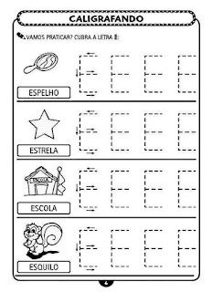 Atividades de Caligrafia Educação Infantil - Vogais - Letra E