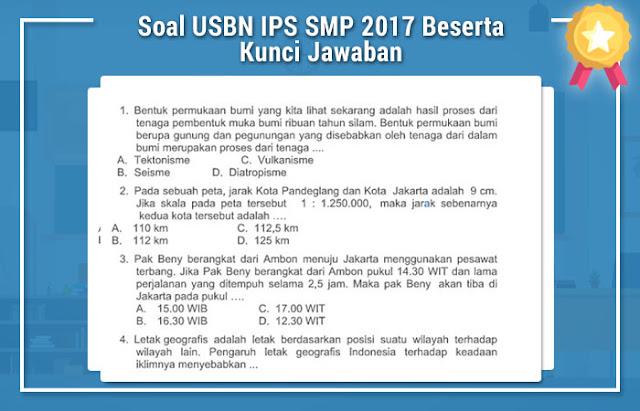 Soal USBN IPS SMP 2017 Beserta Kunci Jawaban