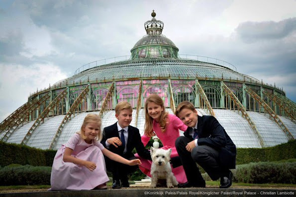 Crown Princess Elisabeth, Prince Gabriel, Prince Emmanuel and Princess Eléonore of Belgium.