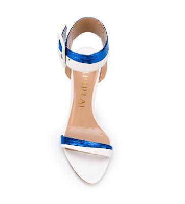 Aperlai  White and Metallic Blue Barely There Stilettos