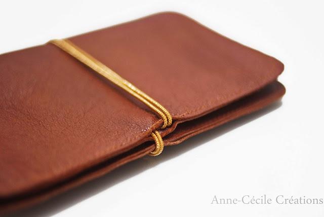 portefeuille marron cuir élastique