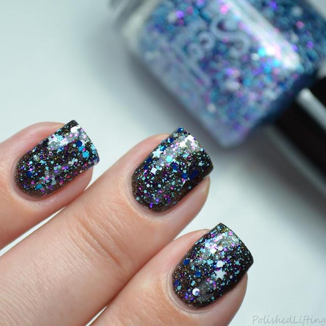 purple blue star glitter topper nail polish