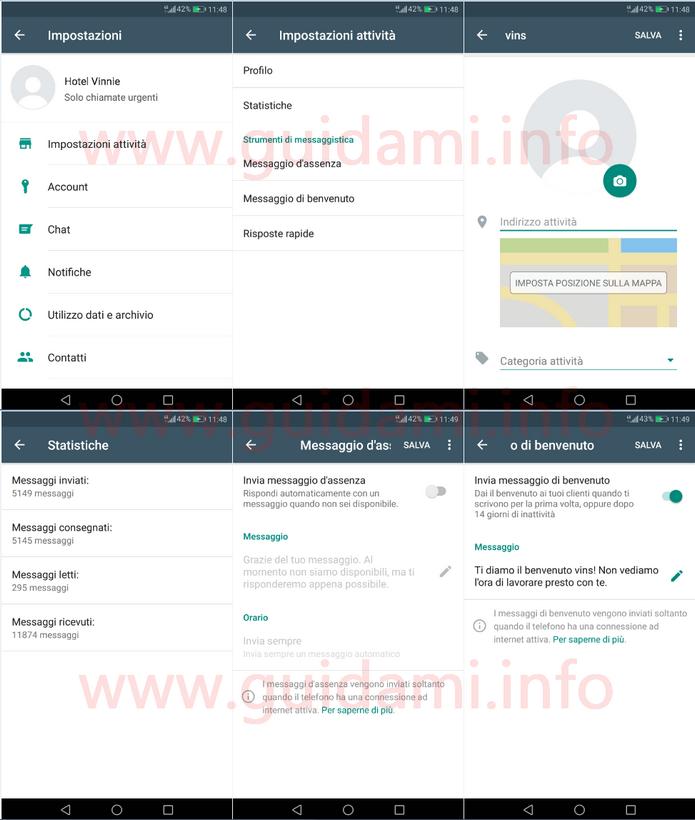 WhatsApp Businnes Impostazioni attività