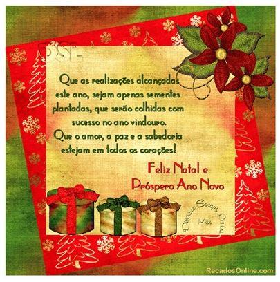 Mensagens de Feliz Natal e próspero Ano Novo