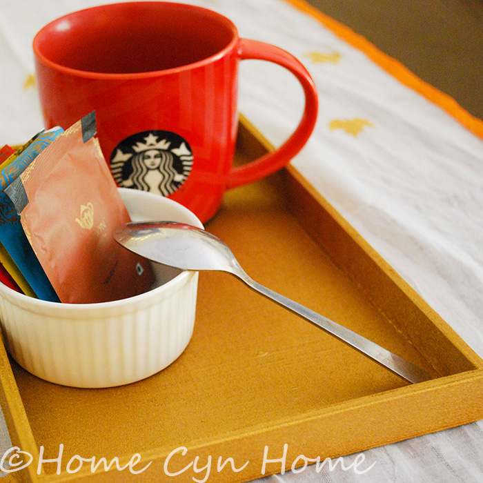 Have tea in style with this mini spray painted wooden tray made from an old wooden box