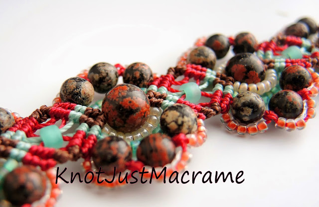 Red jasper macrame bracelet with turquoise.