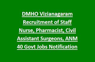 DMHO Vizianagaram Recruitment of Staff Nurse, Pharmacist, Civil Assistant Surgeons, ANM 40 Govt Jobs Notification 2017
