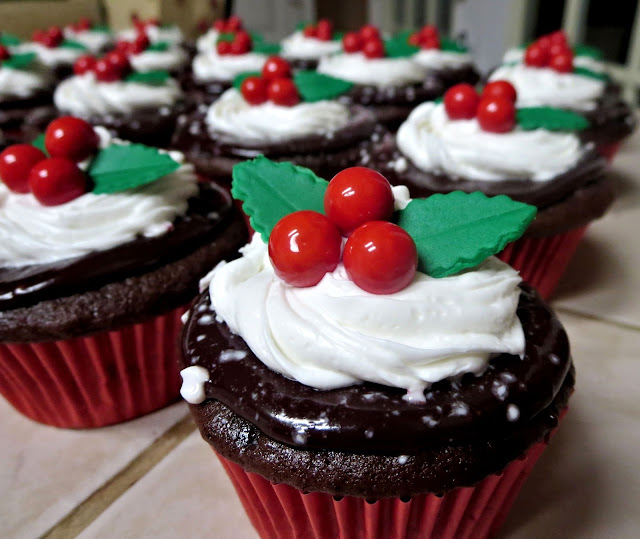 Christmas Holly Berry Chocolate Peppermint Cupcakes - Close Up 1