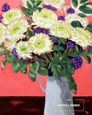 Original acrylic framed floral painting by Pennsylvania artist, Merrill Weber
