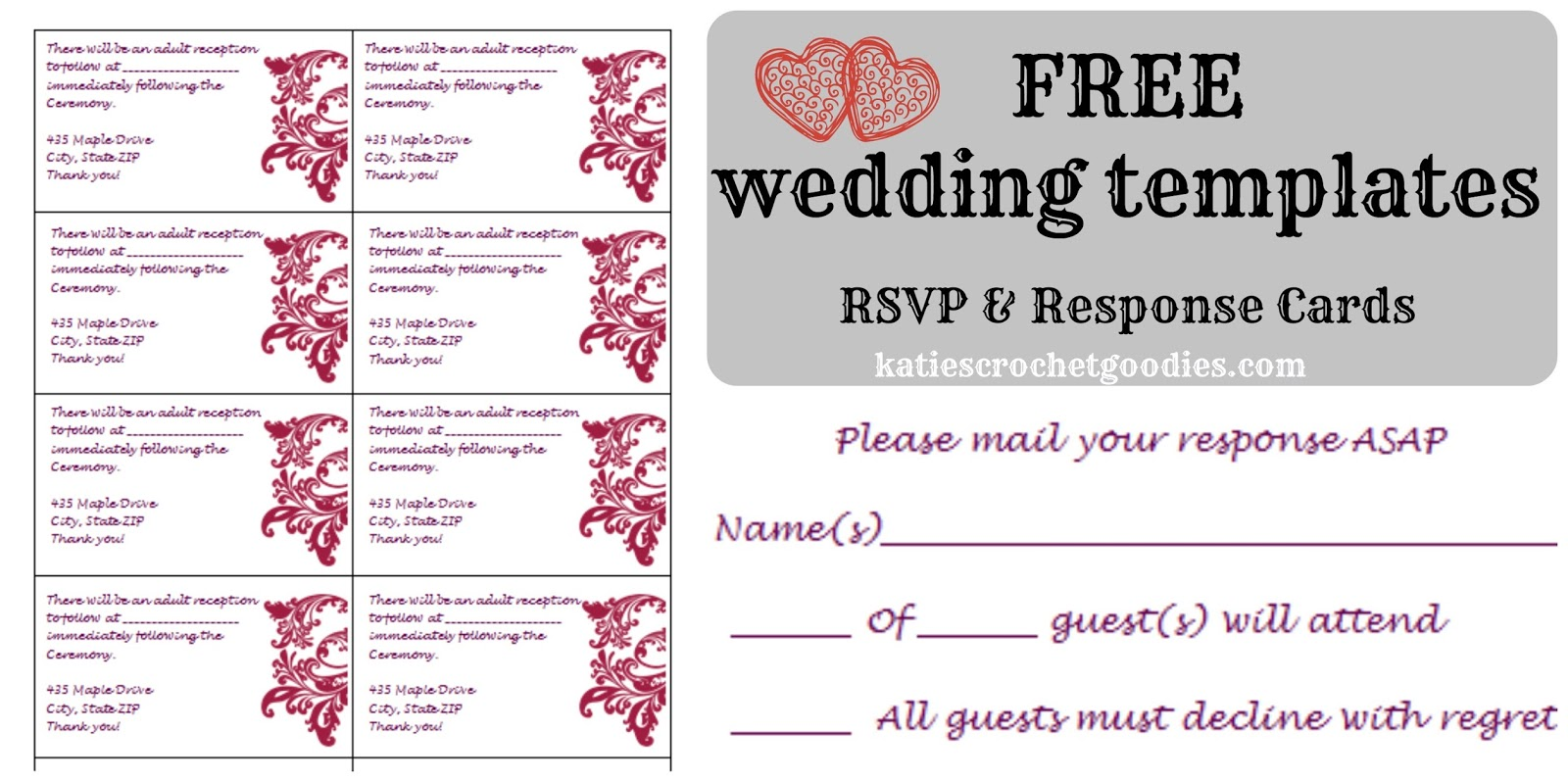 Free Wedding Templates RSVP Reception Cards Katies Crochet - Wedding reception invitation templates free