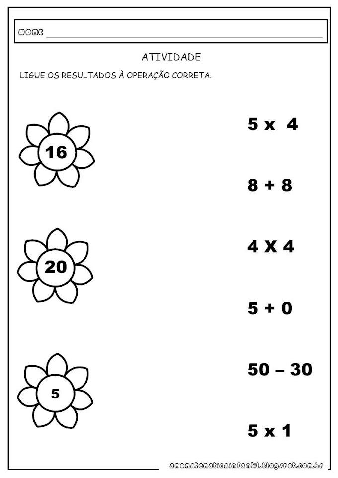 Atividade Matemática Ligar operações aos resultados