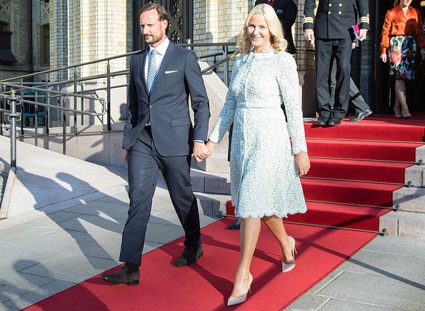 Crown Princess Mette-Marit wore Self-Portrait Flower Garden Contrast Panel Guipure Lace Dress. Queen Sonja