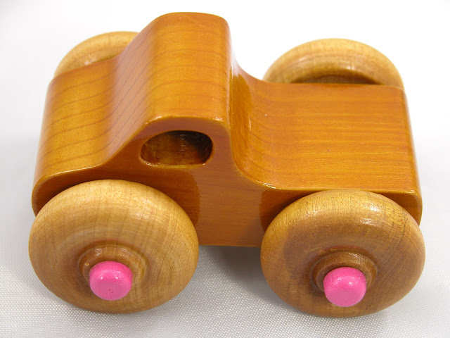 Handmade Wooden Toy - Play Pal - Monster Truck - Pink Hubs - Amber Shellac - Pine