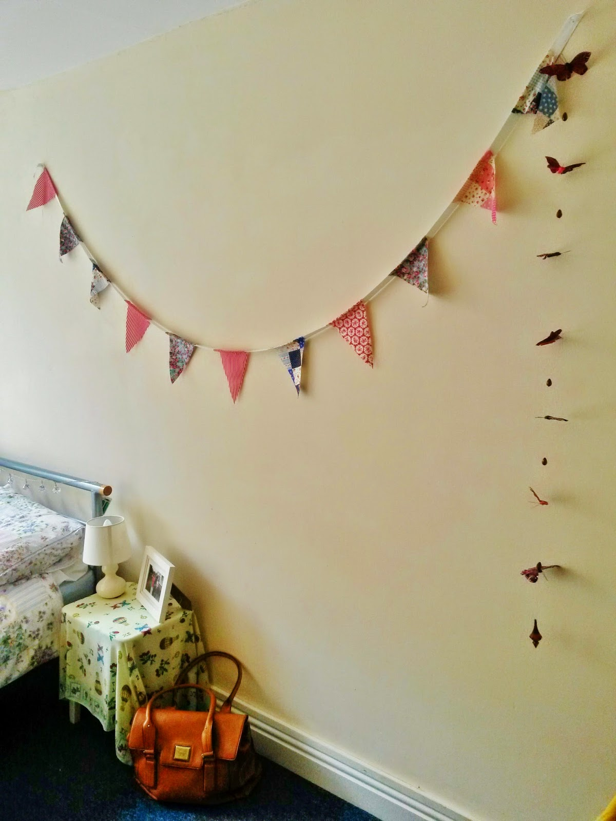 University Bedroom, homemade bunting