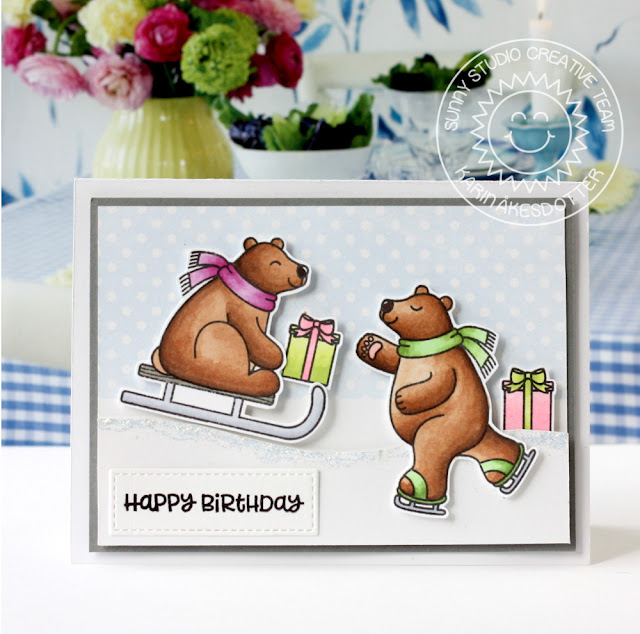 Sunny Studio Stamps: Playful Polar Bears Winter Themed Birthday Card by Karin Akesdotter