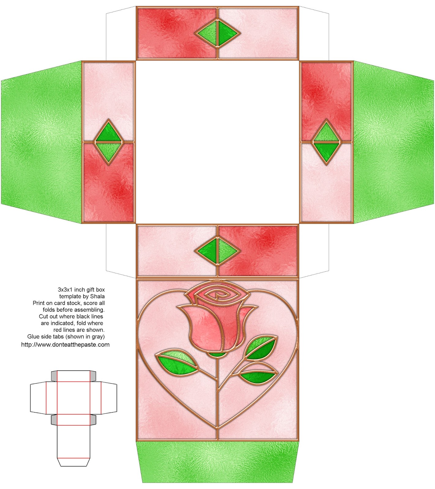 Stained glass rose printable box #papercrafts #giftbox #favors #boxes