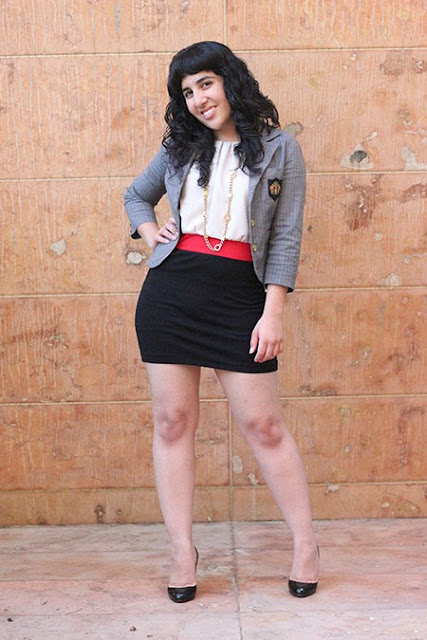 School Boy Blazer Over Dress