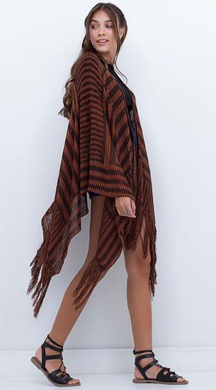 casaco poncho listrado Renner coleção Inverno 2016